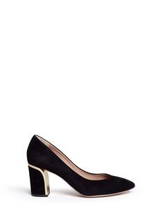 CHLOÉMetal plate heel suede pumps