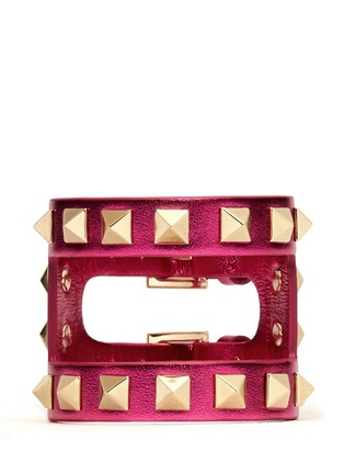 Main View - Click To Enlarge - Valentino - 'Rockstud' cutout metallic leather bracelet