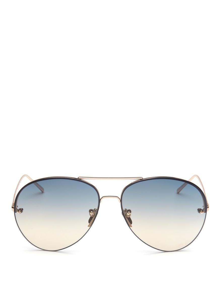 Gradient lens rimless titanium sunglasses by Linda Farrow