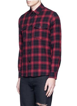 Front View - Click To Enlarge - Saint Laurent - Tartan plaid cotton shirt