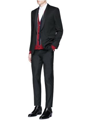 模特儿示范图 - 点击放大 - SAINT LAURENT - 拼色条纹混羊毛针织衫