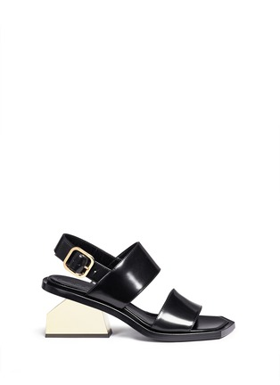 Main View - Click To Enlarge - Marni - Notched metal heel leather sandals