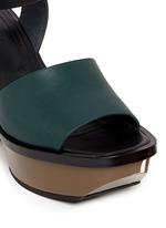Colourblock acetate wedge platform leather sandals