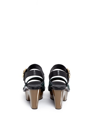 Back View - Click To Enlarge - Marni - Colourblock acetate wedge platform leather sandals