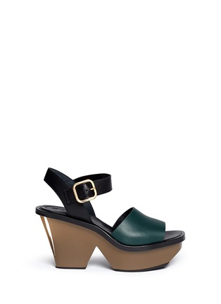 Main View - Click To Enlarge - Marni - Colourblock acetate wedge platform leather sandals