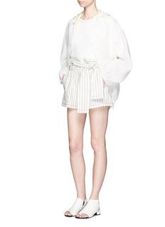3.1 Phillip LimZigzag stitch linen-cotton flare top
