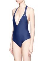'Mediterranean' macramé halterneck one-piece swimsuit