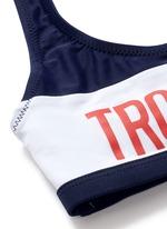 'Troublemaker' graphic print sport bikini top