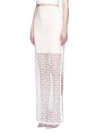Front View - Click To Enlarge - alice + olivia - 'Misha' lace sheer hem maxi skirt