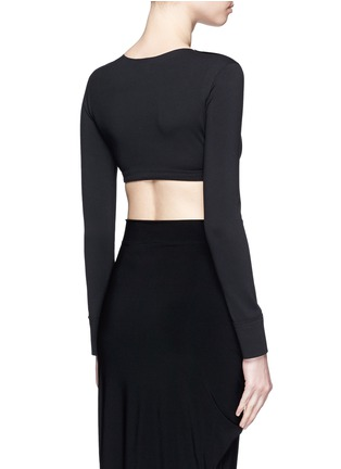 Back View - Click To Enlarge - Norma Kamali - Raw edged trim stretch cropped top