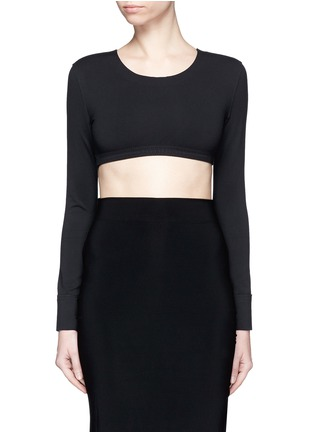 Main View - Click To Enlarge - Norma Kamali - Raw edged trim stretch cropped top