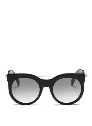Main View - Click To Enlarge - Alexander McQueen - Piercing bar stud acetate round sunglasses