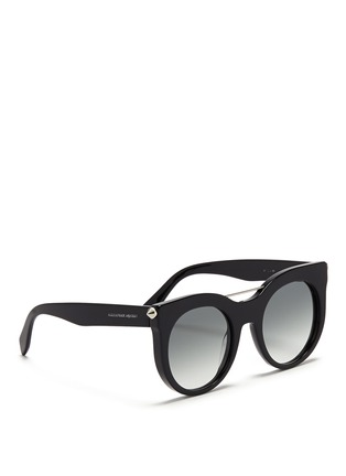 Figure View - Click To Enlarge - Alexander McQueen - Piercing bar stud acetate round sunglasses