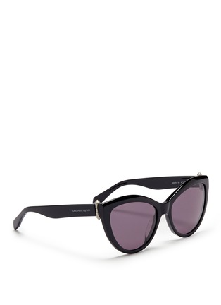 Figure View - Click To Enlarge - Alexander McQueen - Piercing hinge acetate cat eye sunglasses