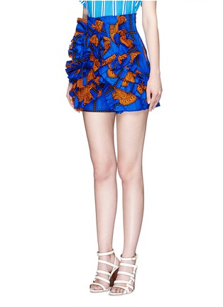 Front View - Click To Enlarge - STELLA JEAN - 'Sfoglina' tribal print ruffle appliqué shorts