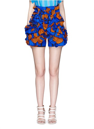 Main View - Click To Enlarge - STELLA JEAN - 'Sfoglina' tribal print ruffle appliqué shorts