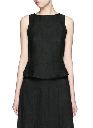 Main View - Click To Enlarge - Song for the Mute - Button back linen mesh sleeveless top