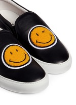 'Smile' fleece patch leather skate slip-ons
