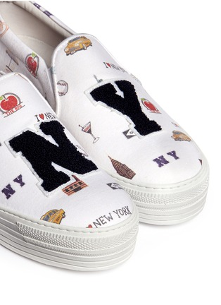 Detail View - Click To Enlarge - Joshua Sanders - 'All Over NY' fleece letter jersey flatform skate slip-ons