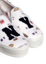 'All Over NY' fleece letter jersey flatform skate slip-ons
