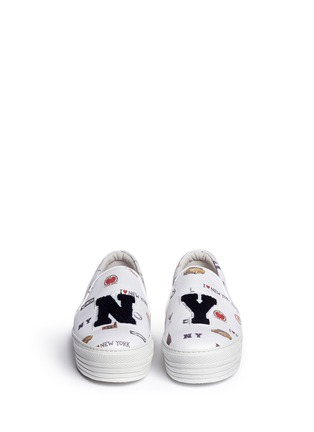 Front View - Click To Enlarge - Joshua Sanders - 'All Over NY' fleece letter jersey flatform skate slip-ons