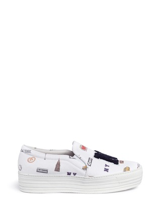 Main View - Click To Enlarge - Joshua Sanders - 'All Over NY' fleece letter jersey flatform skate slip-ons