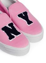 'N.Y.' fleece letter jersey flatform skate slip-ons