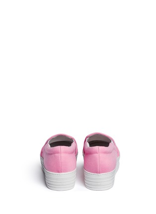 Back View - Click To Enlarge - Joshua Sanders - 'N.Y.' fleece letter jersey flatform skate slip-ons