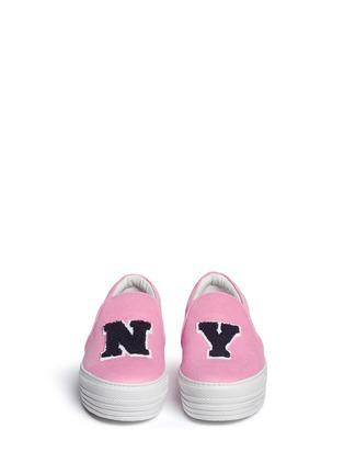 Front View - Click To Enlarge - Joshua Sanders - 'N.Y.' fleece letter jersey flatform skate slip-ons