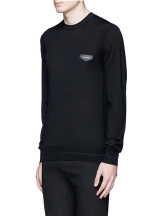 Front View - Click To Enlarge - Givenchy - Leather logo patch wool sweater