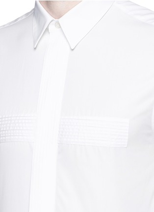 Detail View - Click To Enlarge - Givenchy - Pintuck cross front poplin shirt