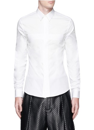 Main View - Click To Enlarge - Givenchy - Pintuck cross front poplin shirt