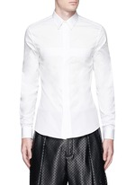 Pintuck cross front poplin shirt