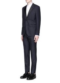 GivenchySatin Madonna collar wool jacquard tuxedo suit