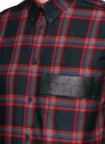Star leather band tartan plaid shirt