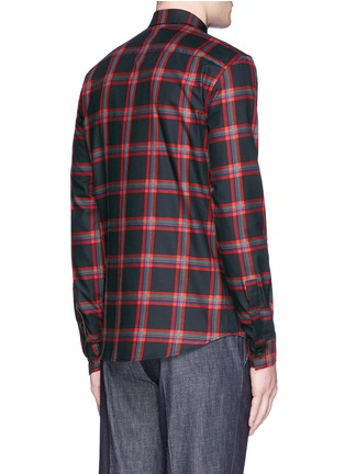 Back View - Click To Enlarge - Givenchy - Star leather band tartan plaid shirt
