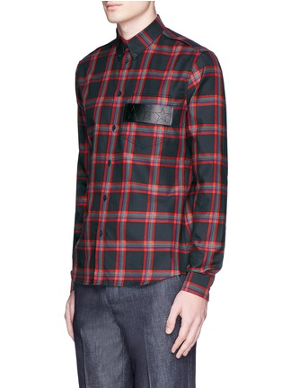 Front View - Click To Enlarge - Givenchy - Star leather band tartan plaid shirt