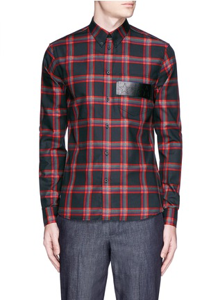 Main View - Click To Enlarge - Givenchy - Star leather band tartan plaid shirt