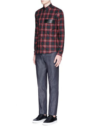 Figure View - Click To Enlarge - Givenchy - Star leather band tartan plaid shirt