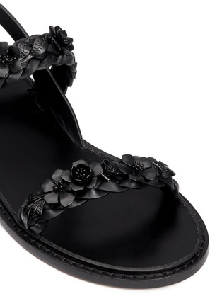 Detail View - Click To Enlarge - Valentino - 'Garden Couture' floral embellishment leather sandals