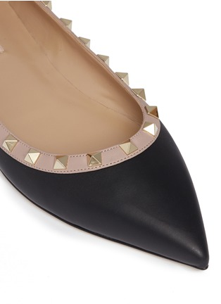 Detail View - Click To Enlarge - Valentino - 'Rockstud Ballerina' leather skimmer flats