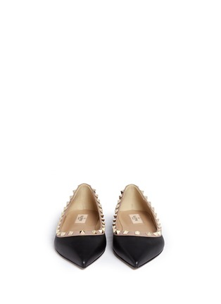 Front View - Click To Enlarge - Valentino - 'Rockstud Ballerina' leather skimmer flats