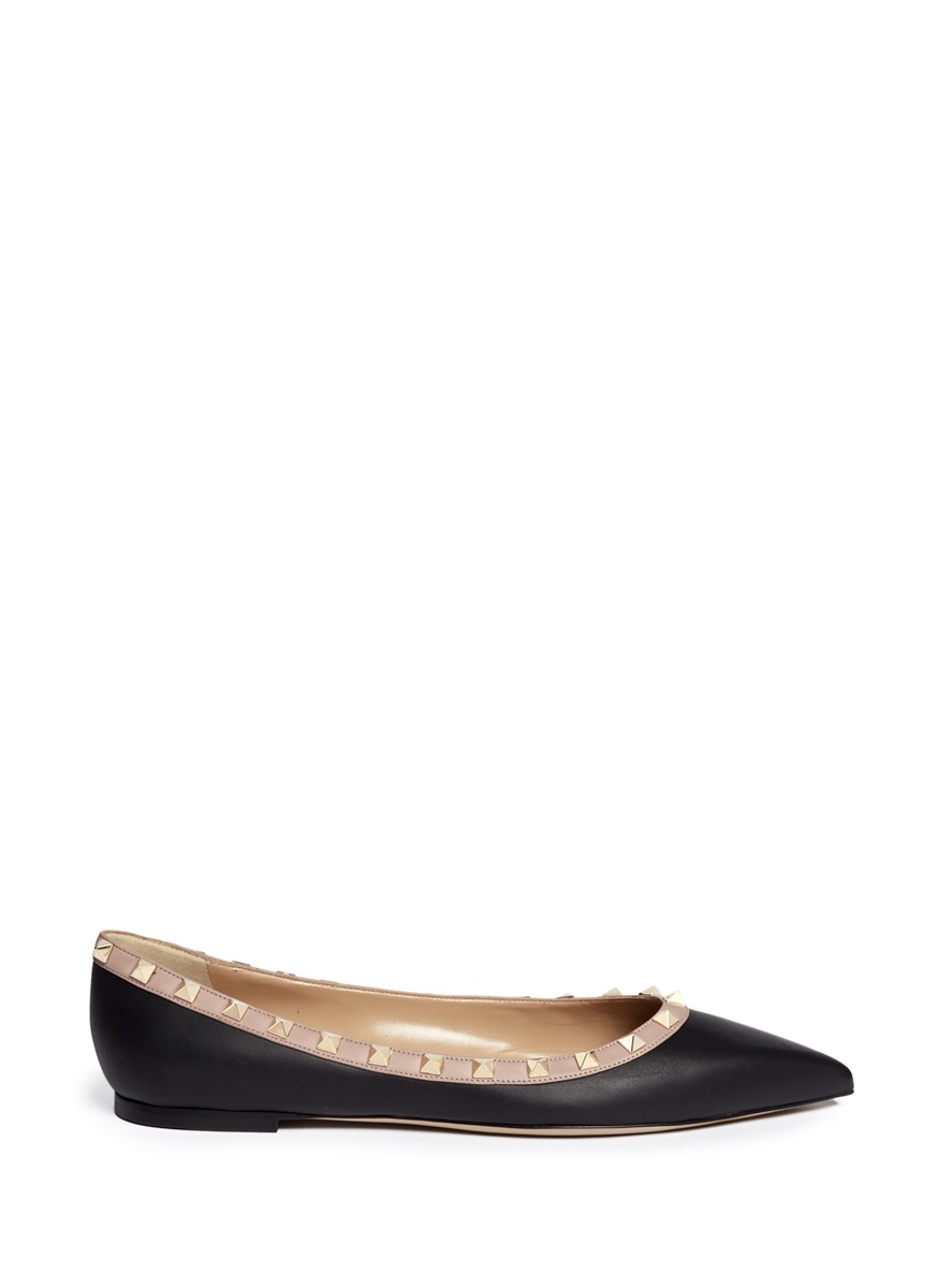 Rockstud Ballerina leather skimmer flats by Valentino