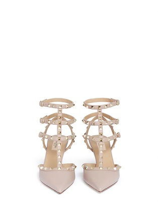 Front View - Click To Enlarge - Valentino - 'Rockstud' caged leather pumps