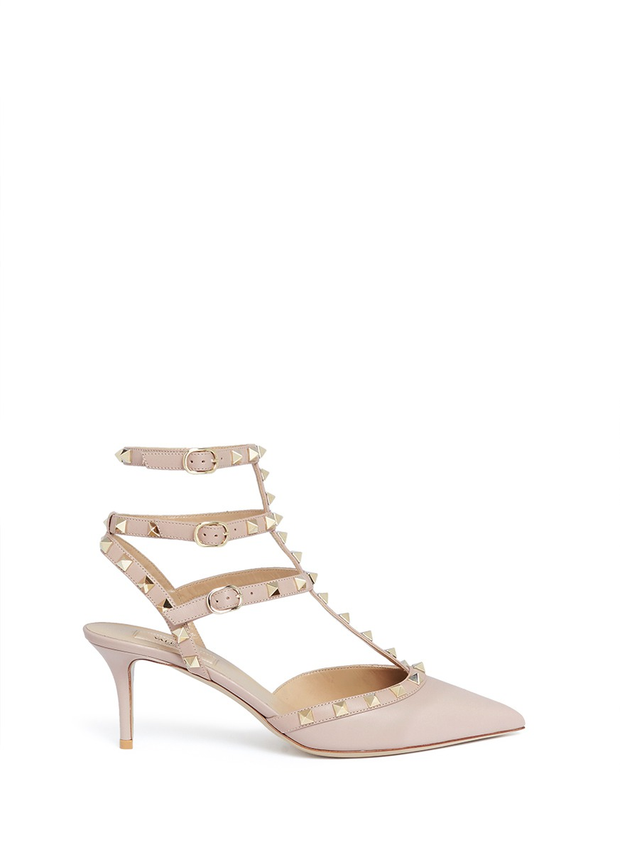 Rockstud caged leather pumps by Valentino