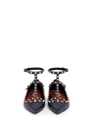 Front View - Click To Enlarge - Valentino - 'Rockstud Ballerina' caged pebble leather flats