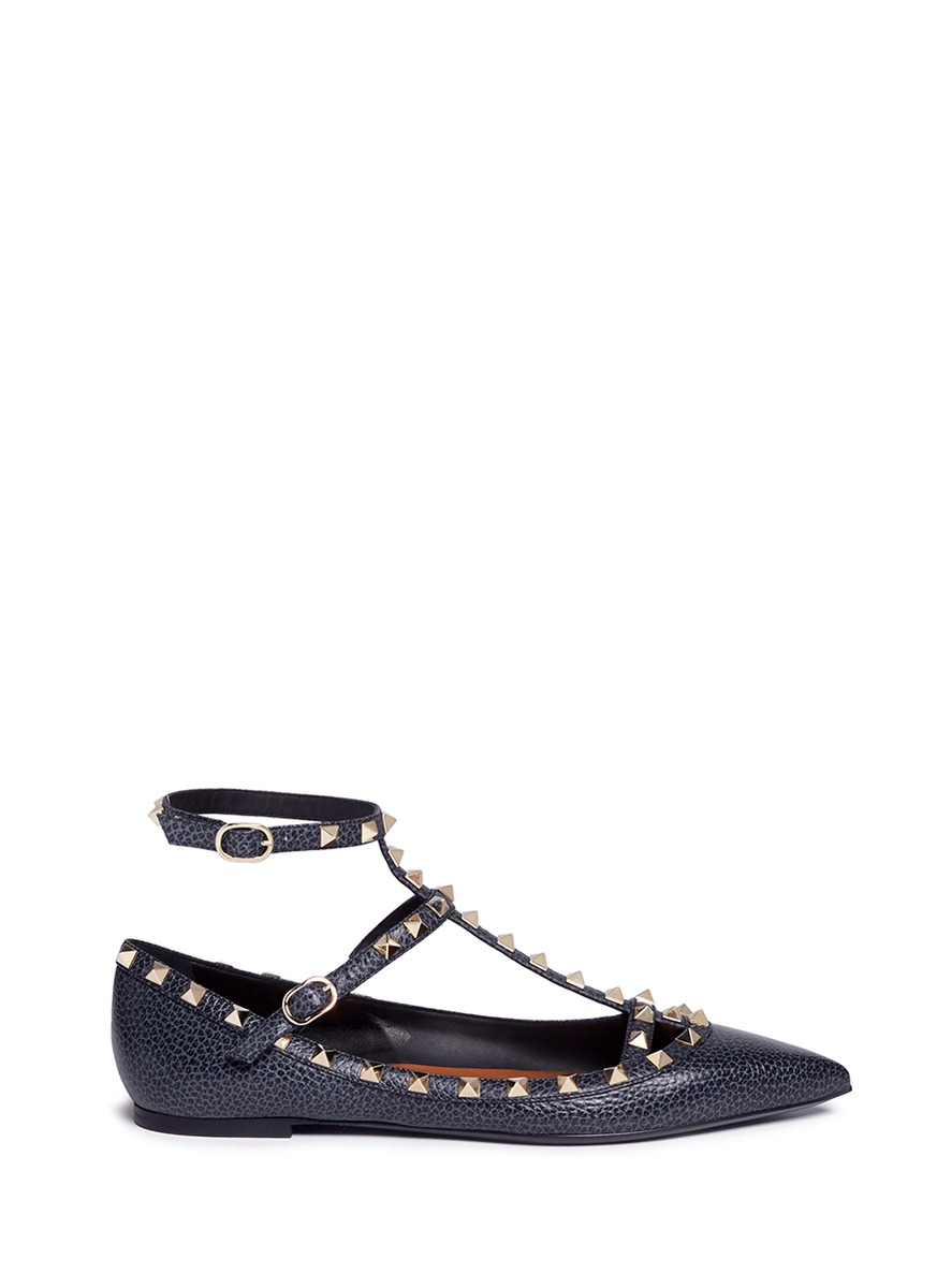 Rockstud Ballerina caged pebble leather flats by Valentino