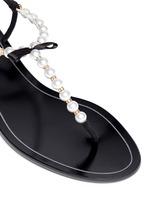Faux pearl T-strap sandals