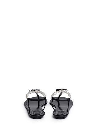 Back View - Click To Enlarge - René Caovilla - Faux pearl T-strap sandals