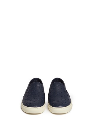 Front View - Click To Enlarge - Tory Burch - Logo stud quilted leather skate slip-ons